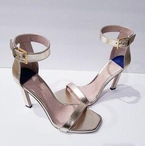 Stuart Weitzman ankle wrap gold heels